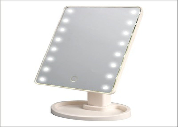 Desktop Hotel Lighted Makeup Mirror With 16pcs Lamp , 360 Swivel Toilet Mirror Touch Sensor
