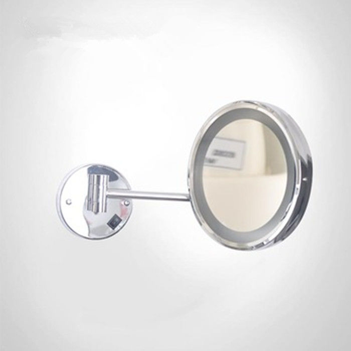 OEM Makeup Led Bathroom Wall Mirror / Round Led Mirror With Touch Switch