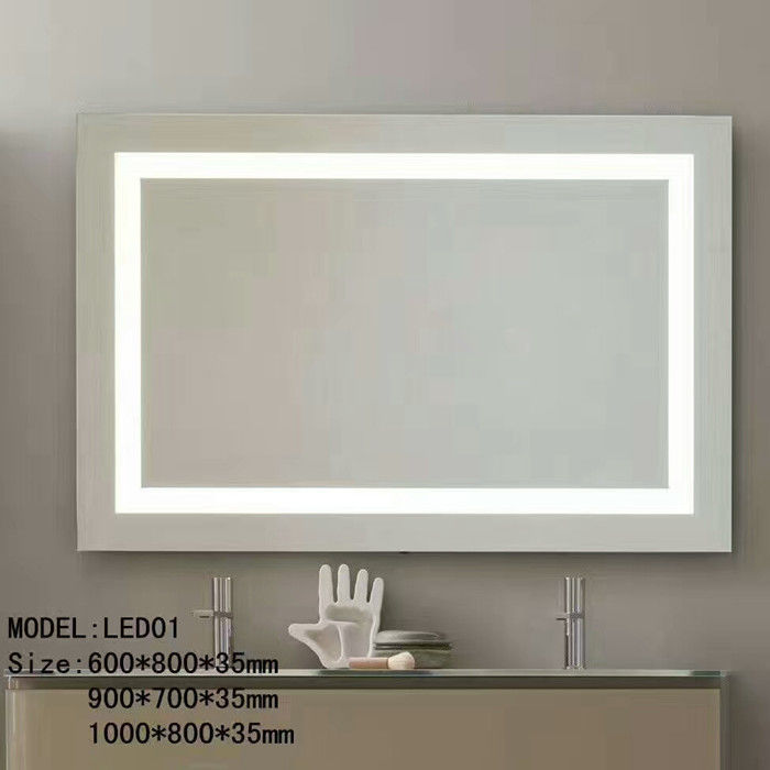 Bluetooth Hotel Bathroom Mirror / Led Backlit Mirror With Border