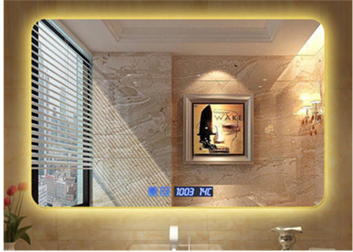 Modern Illuminated LED Bathroom Mirror With Radio Waterproof Rectangle