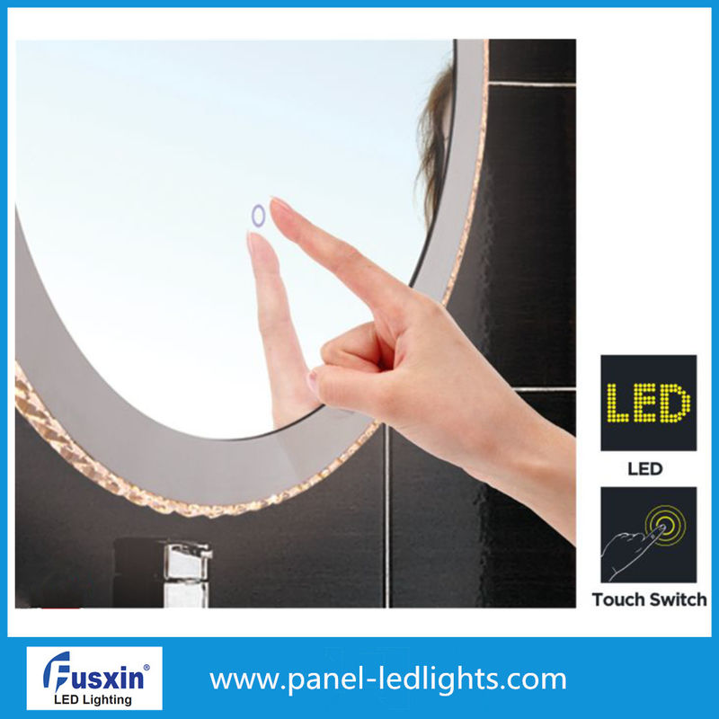 Oval Smart Tocuch Switch LED Strip Mirror For Cosmetic Round Illuminated Bathroom Mirror