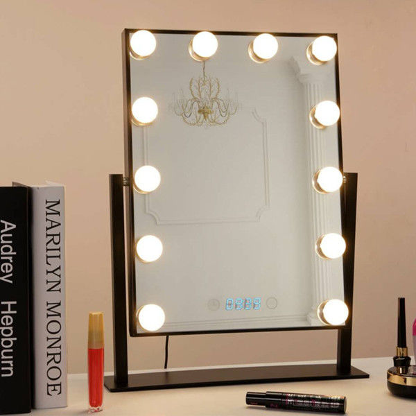 Desk Square Vanity Makeup Mirror With Light Bulbs , Portable Light Up Mirror
