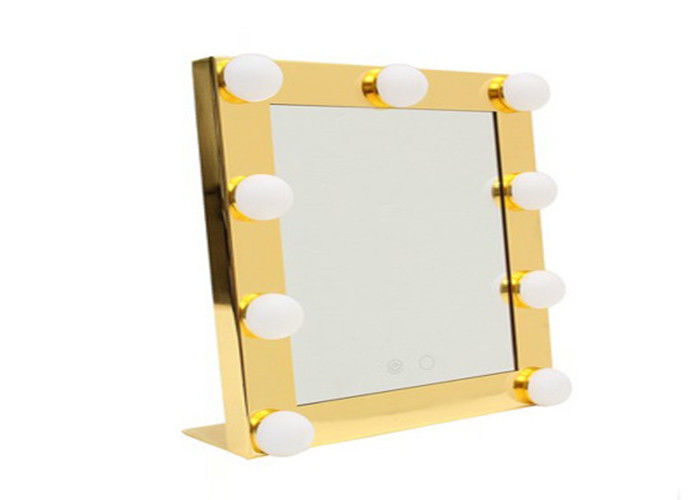 Square Cosmetic Portable Illuminated Makeup Mirror With 9 Light Bulb , Led Tabletop Mirror