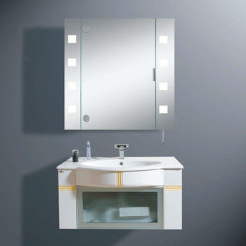 LED Lighted Tall Stainless Steel Bathroom Cabinet With Clock