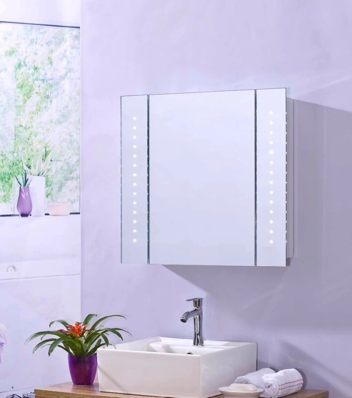 FUSXIN Stainess Led Mirror Cabinet With Shaver Socket And Demister
