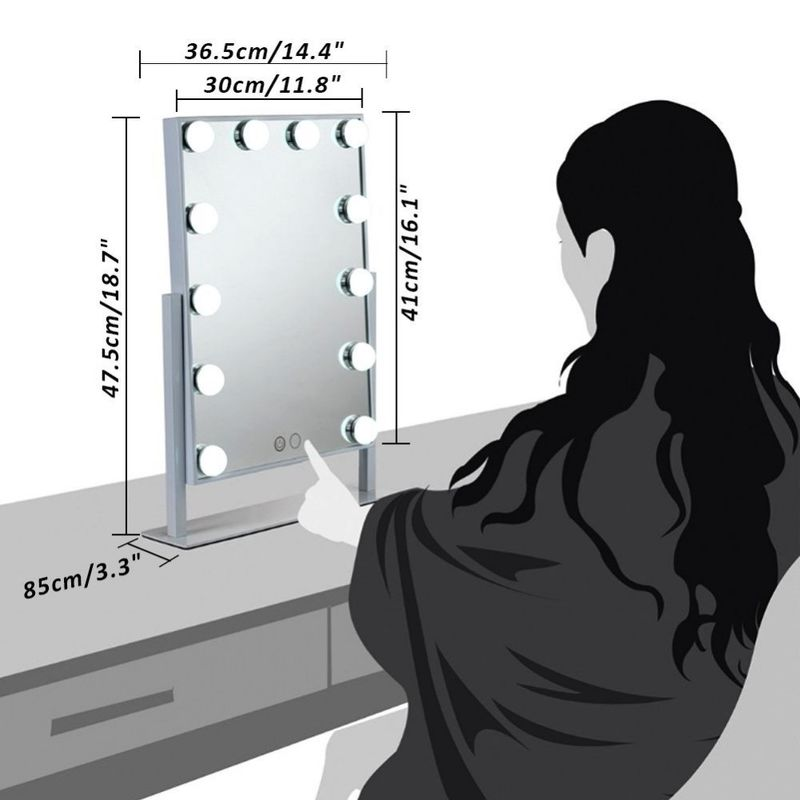 Hollywood Lighted LED Desktop Mirror For Beauty , Portable Light Up Makeup Mirror