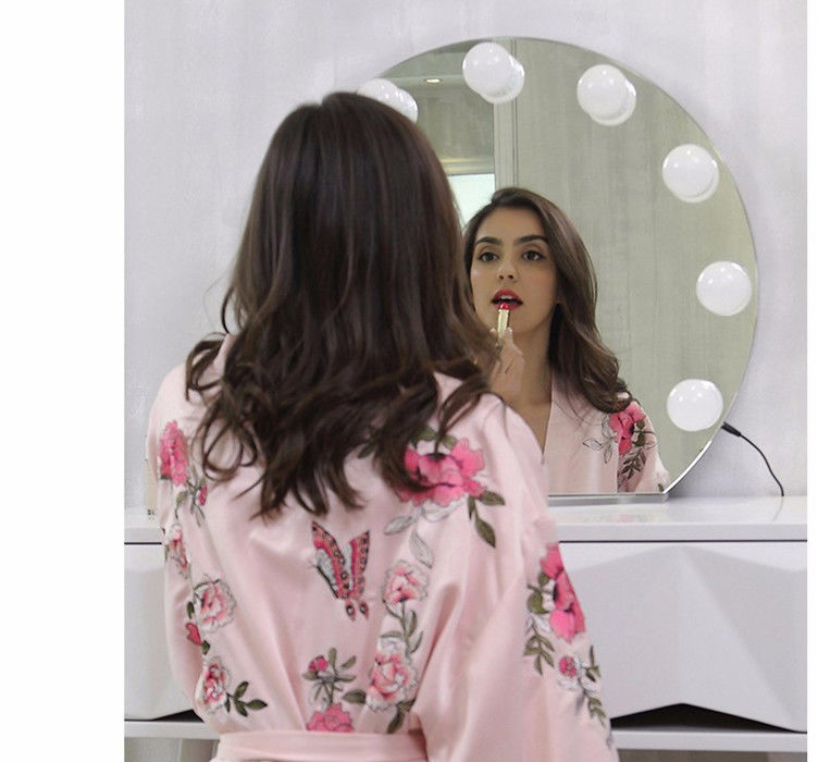 Makeup Circle Vanity Mirror With Lights / Bluetooth Led Desktop Mirror