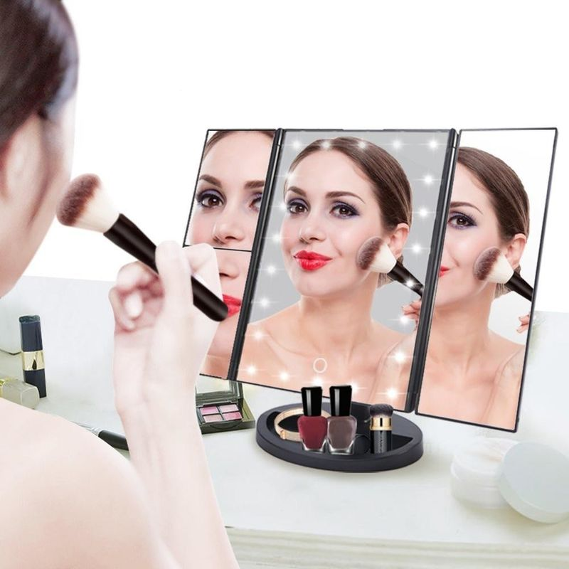 ABS Materials Mirror Desktop trifold led vanity touch sensor makeup cosmetic mirror