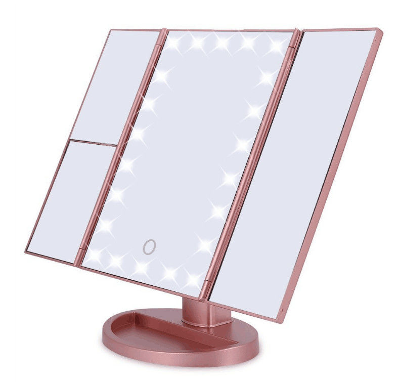 Tri Fold LED Makeup Mirror desktop Vanity Mirror USB for Power Cosmetic Mirror