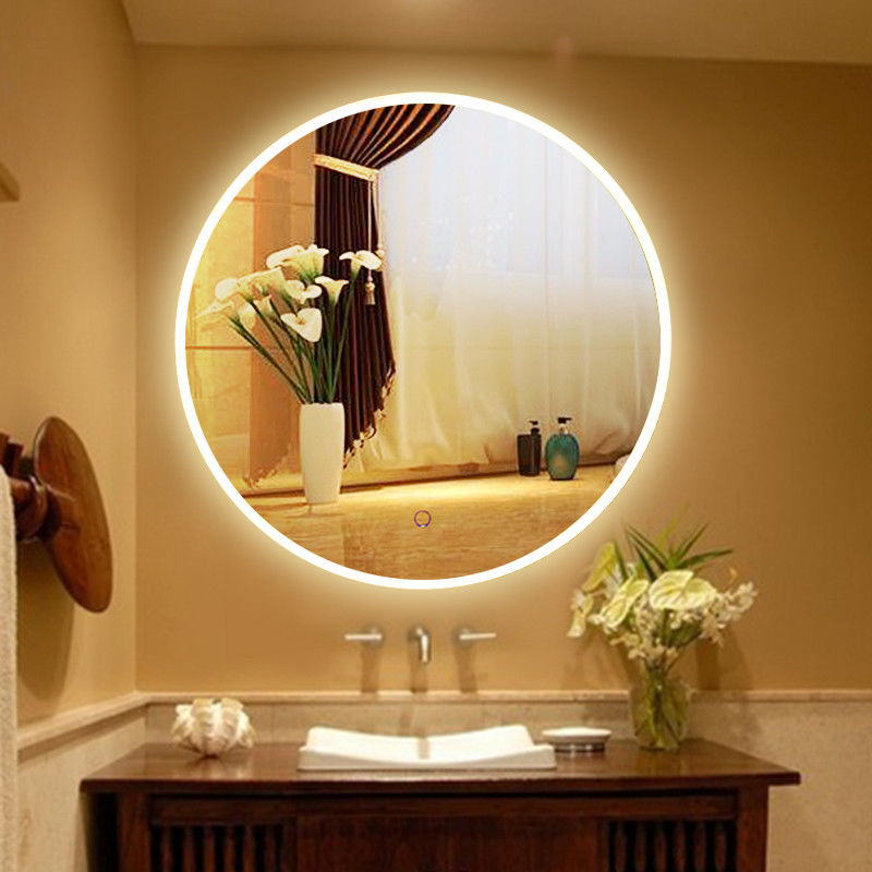 Usa Touch Sensor Switch Wall Makeup Mirror With Led Lights For Villa , Circular Led Mirror